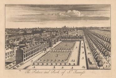 """Stow: St James's. c1750. An original antique copper engraving. 9"""" x 6"""". [LDNp10875]"""
