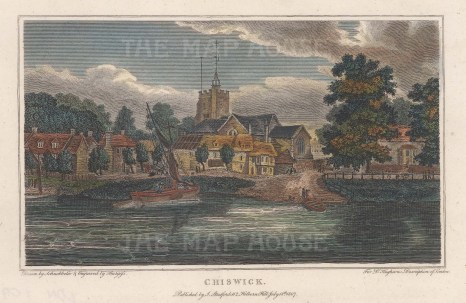 Chiswick: View of St Nicholas and Chiswick Mall from the Thames.