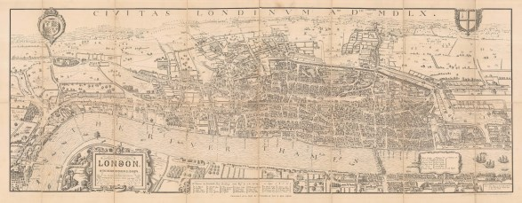 Civitas Londinum: Bird's eye view of Elizabethan London in 1560 with the Royal and London Coat Arms, keys, and annotations for 'modern' London. Historically known as the Agas map, after Ralph Agas a Suffolk cartographer and surveyor to whom it is no longer attributed.