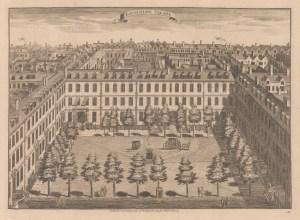 "Stow: Devonshire Square. 1754. An original antique copper engraving. 19"" x 14"". [LDNp8684]"