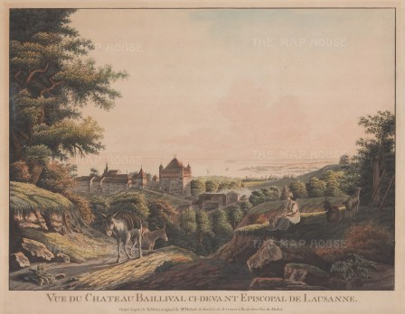 Baillival Castle, Bulle: View of the castle formerly seat of the Bishops of Lausanne. After Jean-Daniel Hubert.