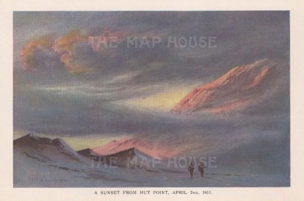 Sunset from Hut Point: Terra Nova Expedition 1910-13.