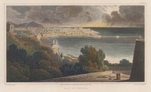 "Batty: Bay of Genoa. 1820. A hand coloured original antique steel engraving. 8"" x 5"". [ITp2293]"