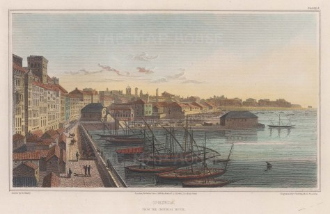 Genoa: View from the Imperial Hotel over the port.