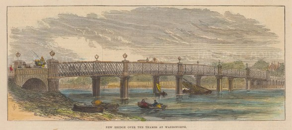 "Illustrated London News: Wandsworth Bridge. 1874. A hand coloured original antique wood engraving. 9"" x 4"". [LDNp10912]"