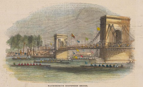 "Illustrated London News: Hammersmith Bridge. 1872. A hand coloured original antique wood engraving. 9"" x 3"". [LDNp10914]"