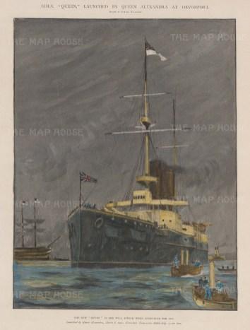 HMS Queen. First class twin screw battleship.