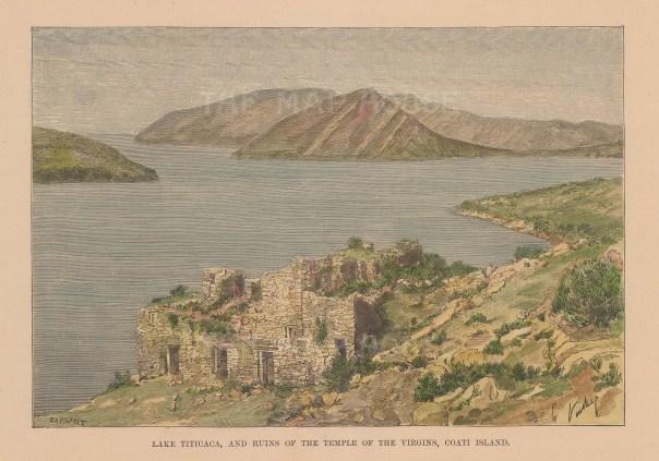 """Reclus: Lake Titicaca, Bolivia. 1894. A hand coloured original antique wood engraving. 7"""" x 5"""". [SAMp1496]"""