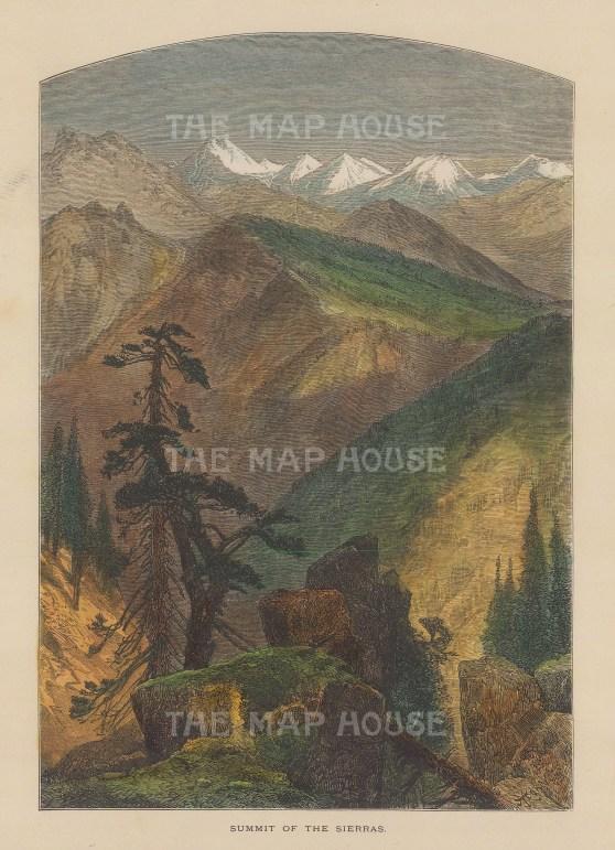 "Picturesque America: Sierra Mountains. c1872. A hand coloured original antique wood engraving. 9"" x 6"". [USAp4934]"