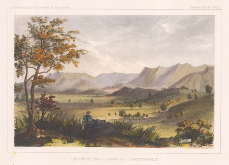 Santa Ynez Mountains: View of the southern end of the mountain range and the San Buenaventura valley.