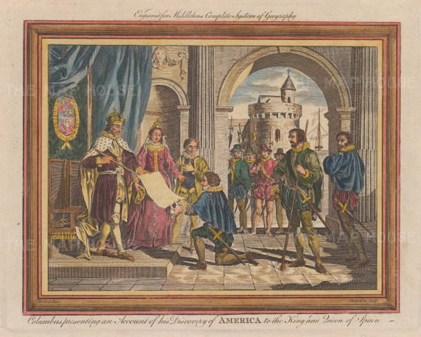 Christopher Columbus: Presenting an account of his discovery of America to the King and Queen of Spain.