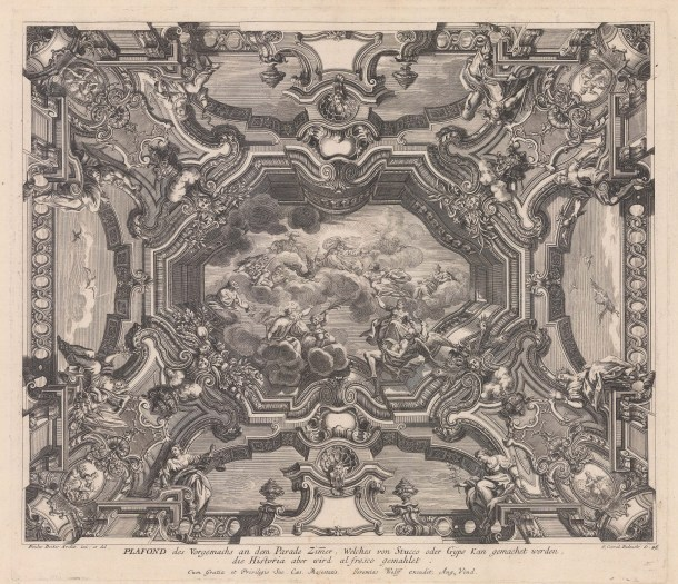 Baroque Ceiling Decoration: Fresco of Zeus, Ares, Athena, Hephaestus and Hades with father Time at Olympus with Apollo, Artemis, Hera and Poseidon at the corners.
