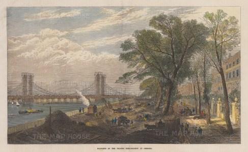 Chelsea Embankment: View from Cheyne Walk towards the ongoing construction of Albert Bridge.