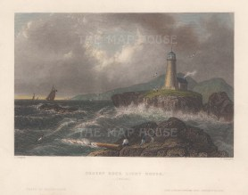 """Bartlett: Mount Desert Rock Lighthouse, Maine. 1840. A hand coloured original antique steel engraving. 8"""" x 6"""". [USAp5066]"""