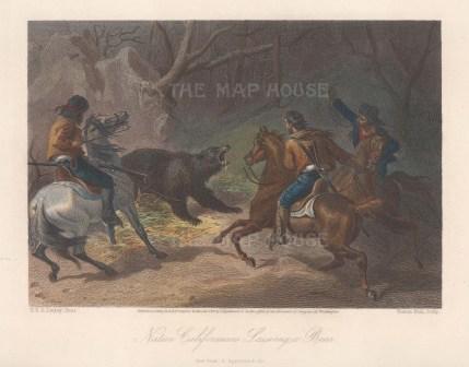 "Picturesque AmericaNative Californians lassoing a bear. 1874. A hand coloured original antique steel engraving. 9"" x 6"". [USAp5071]"