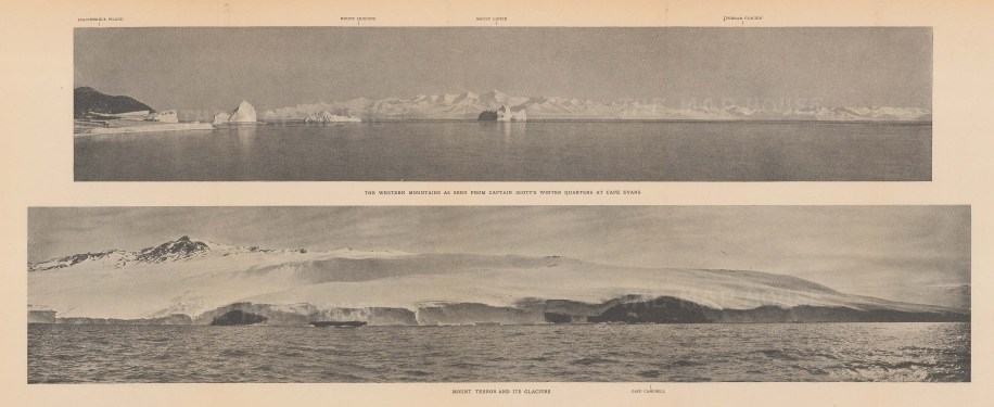 Double Panorama: Western Mountains from Cape Evans. Mount Terror and glaciers. Terra Nova Expedition 1910-13.