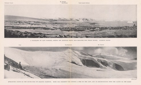 Double Panorama: Cape Roberts looking North. Avalanche Cliffs Granite Harbour. Terra Nova Expedition 1910-13.