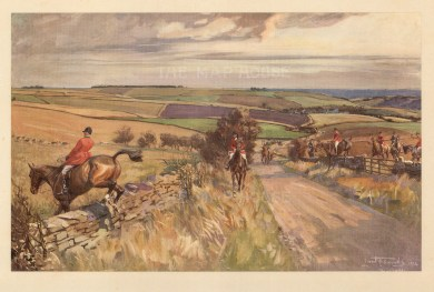 Fox Hunting. The Cotswold at Compton Abdale.