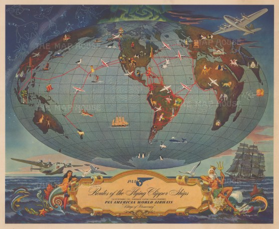 Routes of the Flying Clipper Ships: Pan American World Airways world routes by Leon Helguera.