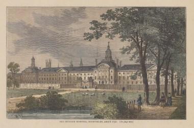 Bedlam: Old Bethlem Royal Psychiatric Hospital in Moorfields in 1750.