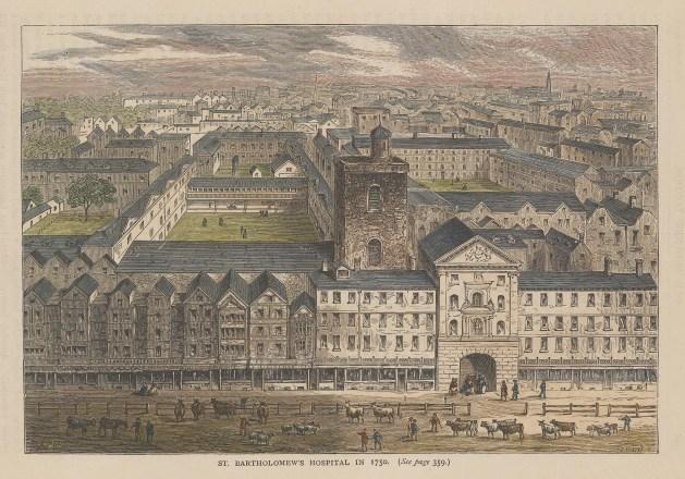 "Old & New: St Bartholomew's Hospital. c1880. A hand coloured original antique wood engraving. 8"" x 6"". [LDNp10934]"