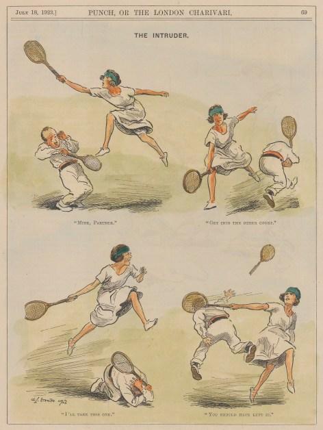 "Punch: Tennis. 1923. A hand coloured original vintage wood engraving. 7"" x 10"". [SPORTSp3662]"