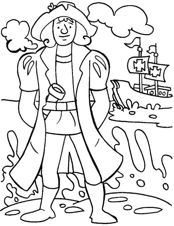 Christopher Columbus Coloring Pages Sketch Coloring Page