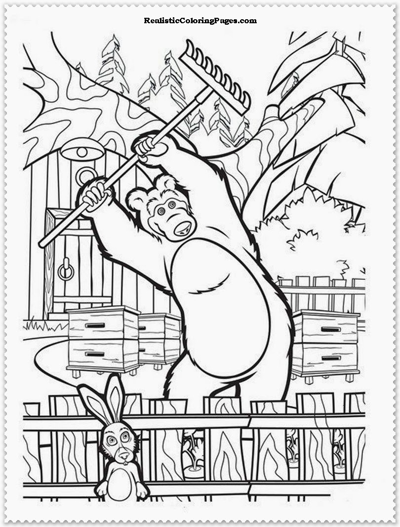 Masha The Bear Coloring Pages Jack Free Printables