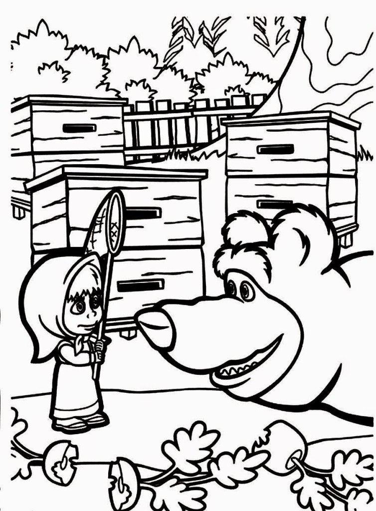 masha-&-the-bear pictures coloring sheets