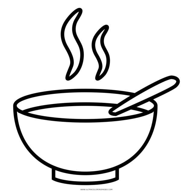 Soup Bowl Coloring Page - Ultra Coloring Pages