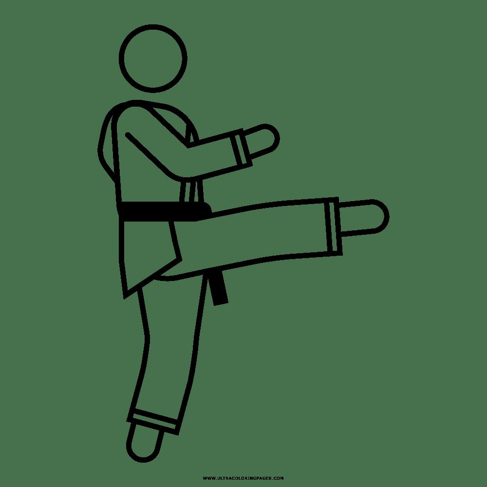 Dibujo De Patada De Karate Para Colorear