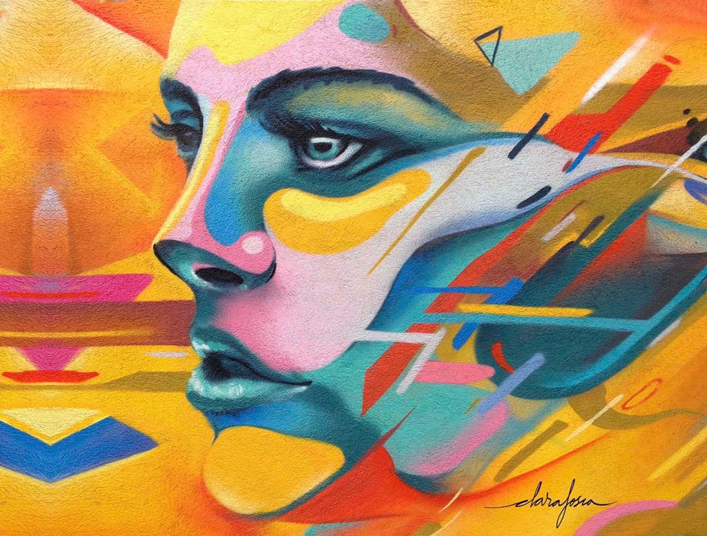 Barcelona graffiti print yellow woman