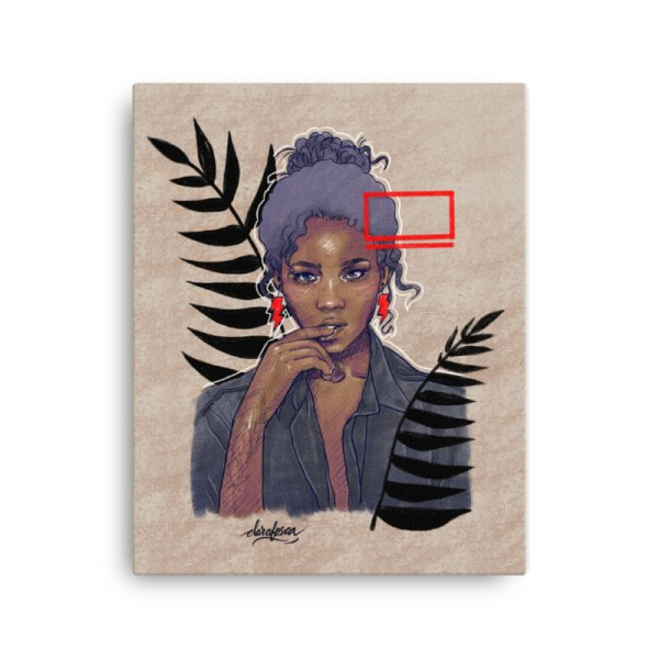 Black woman canggu Bohemian canvas print