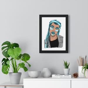 Blue lips print