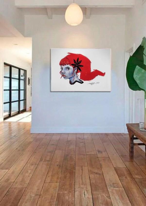 Red hair print