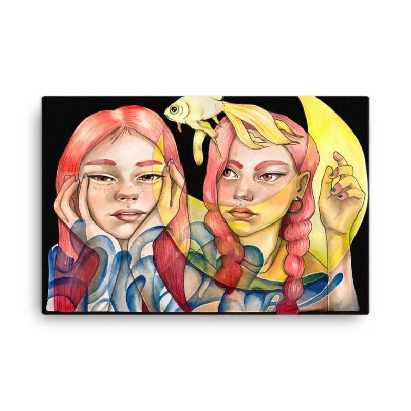 2 girls watercolour printed canvas