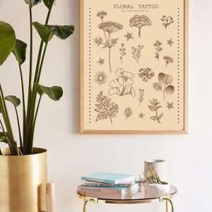 Floral Tattoo beige Print