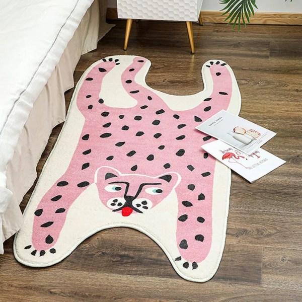 Pink leopard rug