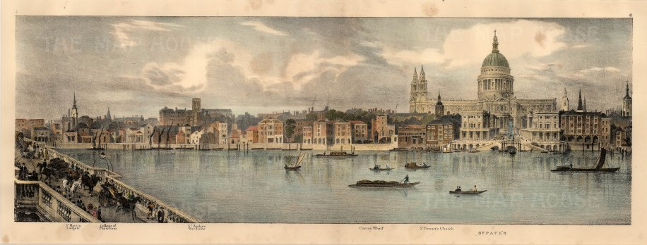 """Trench, 'North Bank of the Thames - From Westminster Bridge to London Bridge', 1825. This is 1 of a SET OF 9. An original colour lithograph. 24"""" x 10"""". Please enquire if you would like to see more images from this set. £POA."""