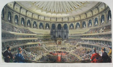 """The Graphic Magazine, 'Royal Albert Hall: Interior scene of the opening by Her Majesty', 1871. A hand-coloured original wood-engraving. 22"""" x 13"""". £POA."""