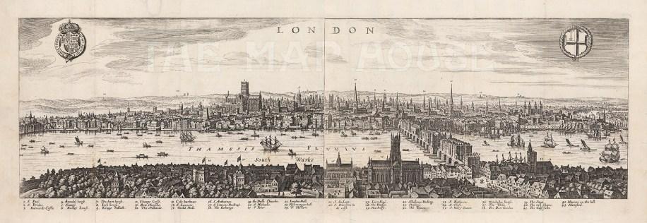 """Merian, 'London', 1641. An original copper-engraving. 28"""" x 9"""". £POA."""