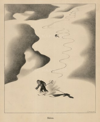 "Paul Samivel, 'Slaloms', 1933. An original black and white lithograph. 10"" x 12"". £POA."