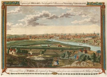 Millar: Paris. 1782. A hand-coloured original antique copper-engraving. 11 x 8 inches. [FRp1212]