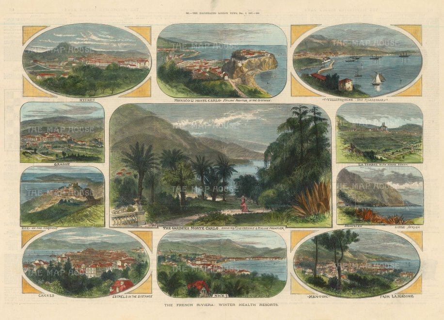 The Illustrated London News: French Riviera views, Monte Carlo, Villefranche, La Turble, Beaulieu, Mentone, Nice, Cannes, Eze, Grasse and Hyres. 1887. A hand-coloured original antique wood-engraving. 20 x 14 inches. [FRp1612]