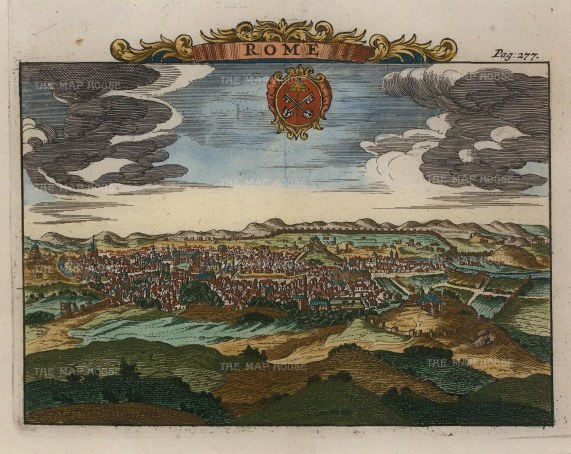 Van der Aa: Rome. Hand-coloured copper engraving, 1727. 7 x 5 inches. [ITp1871]