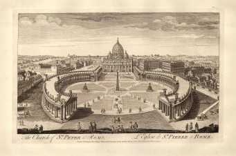 Sayer: Vatican City, Rome. Antique copper engraving, 1774. 18 x 12 inches. [ITp2130]