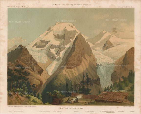 ITp2212 - Julius von Payer: Ortles Alps (Chromo-lithograph, c. 1869) 10 x 7 inches