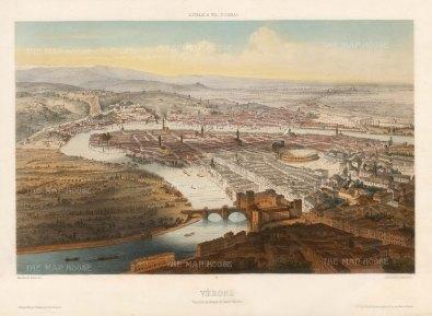 Lemercier: Verona. Hand-coloured lithograph, 1850. 13 x 18 inches. [ITp2226]