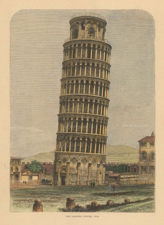 Reclus: Pisa, 1894. Hand-coloured antique original wood-engraving. 7 x 10 inches. [ITp2228]