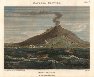 Duppa: Mount Vesuvius, Naples. Hand-coloured copper engraving, 1797. [ITp2237]